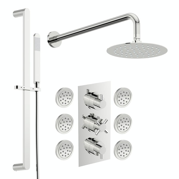 Mode Tate thermostatic mixer shower with wall shower, slider rail and body jets