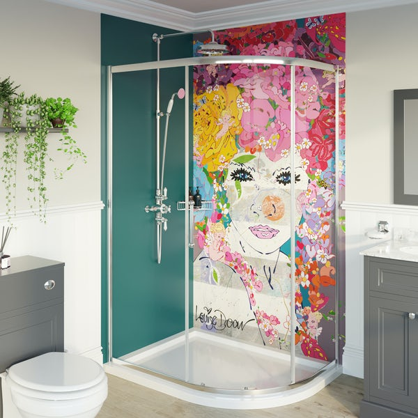 Louise Dear The Serenade Turquoise acrylic shower wall panel pack with left handed offset quadrant enclosure