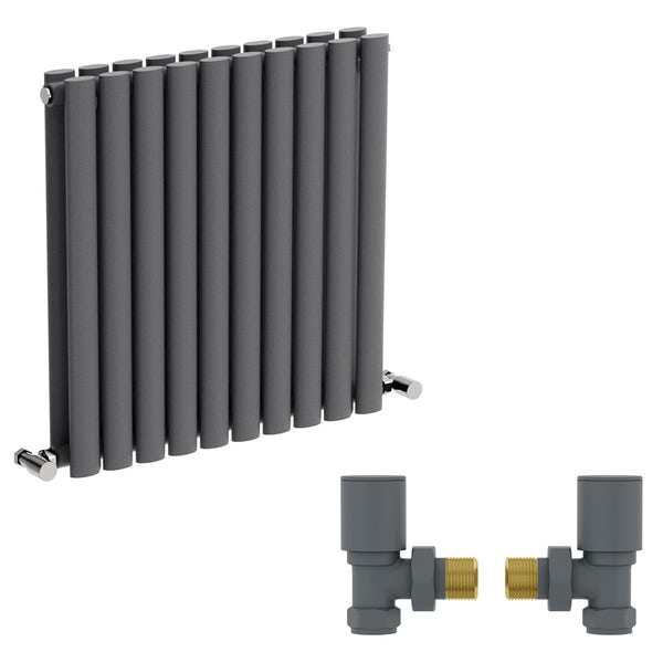 Mode Tate anthracite grey double horizontal radiator 600 x 600 with angled valves