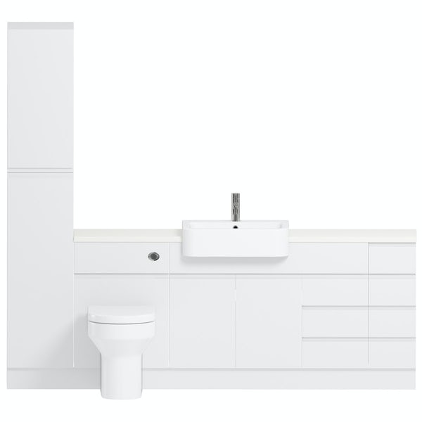 Reeves Wharfe white straight large drawer fitted furniture pack with white worktop