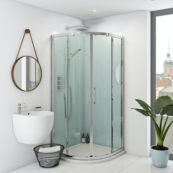 Zenolite plus air acrylic shower wall panel corner installation pack 1000 x 1000