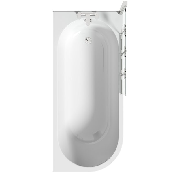 Orchard Elsdon right handed J shaped single ended shower bath with screen and bath mixer tap pack