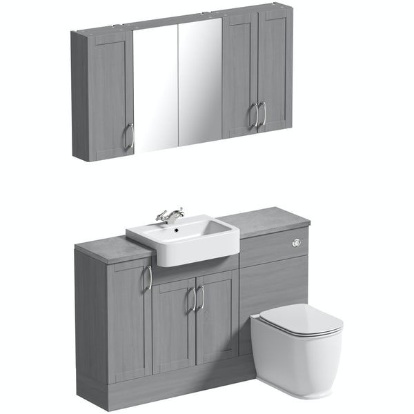 The Bath Co. Newbury dusk grey small fitted furniture & storage combination with pebble grey worktop