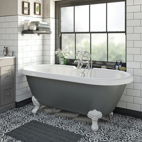 The Bath Co Dulwich Grey Roll Top Bath With White Ball
