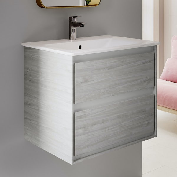 Ideal Standard Concept Air complete wood light grey and right hand Idealform Plus shower bath suite 1700 x 800