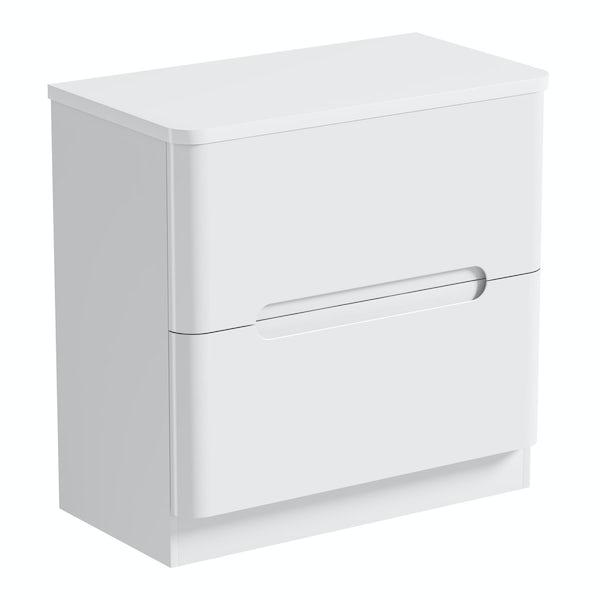Mode Ellis white vanity drawer unit and countertop 800mm