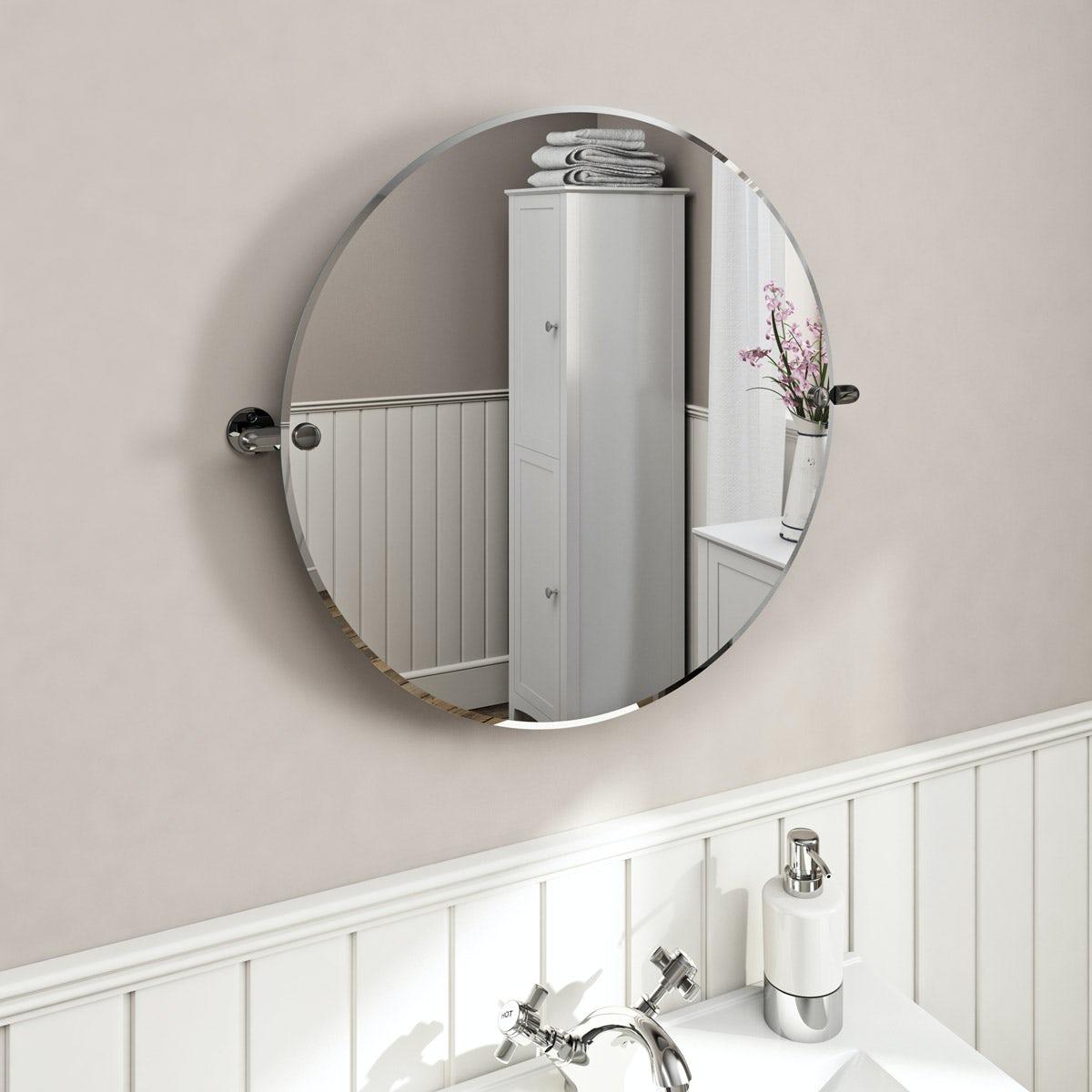 Traditional Round Pivot Bathroom Mirror