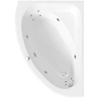 Mode offset corner left handed 12 jet whirlpool bath 1500mm