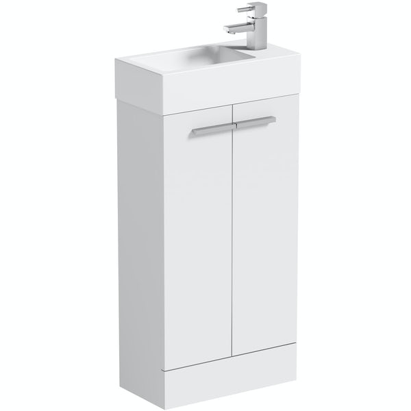 Clarity Compact white cloakroom unit with resin basin 410mm