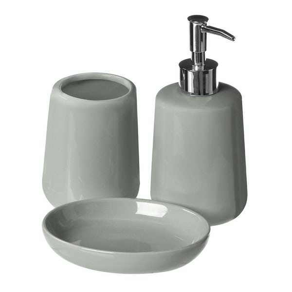 Moon soft grey 3pc bathroom accessory set