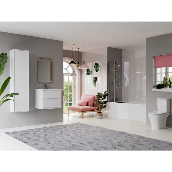 Ideal Standard Concept Air complete left hand white furniture and Idealform Plus shower bath suite 1700 x 800