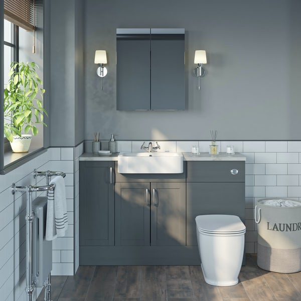 The Bath Co. Newbury dusk grey small fitted furniture & mirror combination with beige worktop