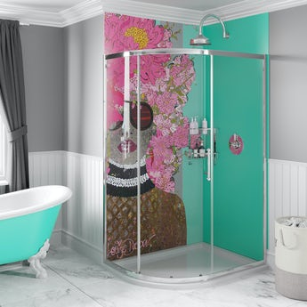 Louise Dear Kiss Kiss Bam Bam Green acrylic shower wall panel pack with left handed offset quadrant enclosure