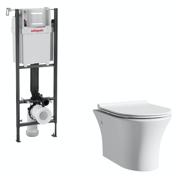 Mode Hardy rimless wall hung toilet with slimline soft close seat and wall mounting frame with push plate cistern