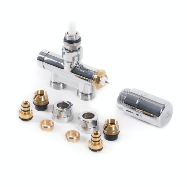 Terma chrome straight integrated thermostatic valve with immersion tube set (for Dual Fuel)