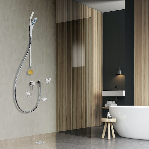 Clarity easy install magnetic shower and riser rail with adhesive pads and fish mounting plate