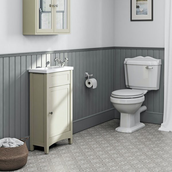The Bath Co. Camberley satin ivory cloakroom unit with Traditional close coupled toilet