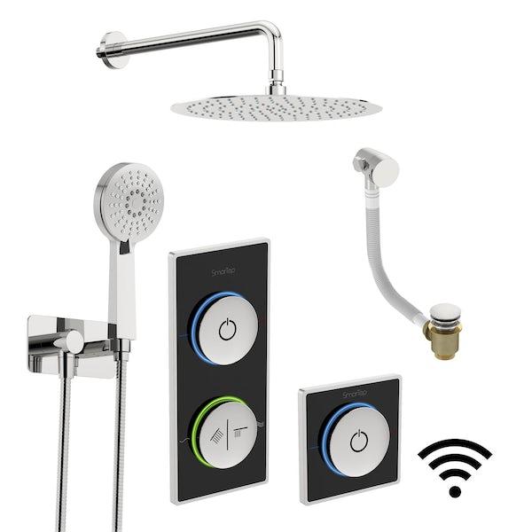 SmarTap black smart shower system with complete round wall shower outlet bath set