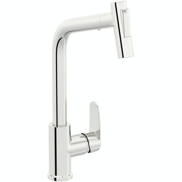 Schon Tresco chrome single lever kitchen mixer tap with pull out