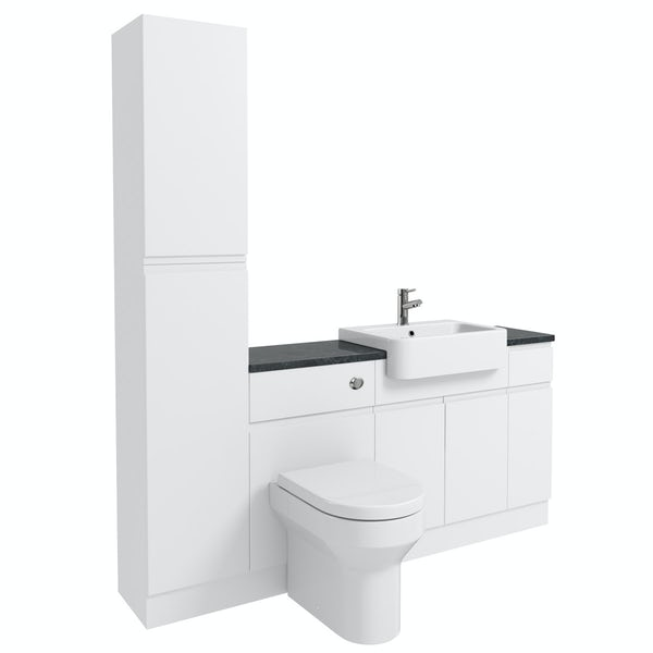 Orchard Wharfe white straight small storage fitted furniture pack with black worktop