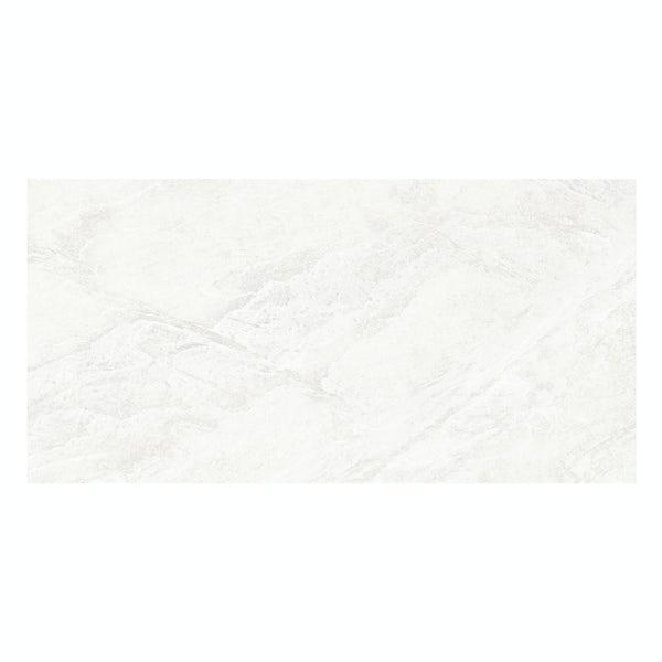 Laguna white stone effect matt wall and floor tile 300mm x 600mm