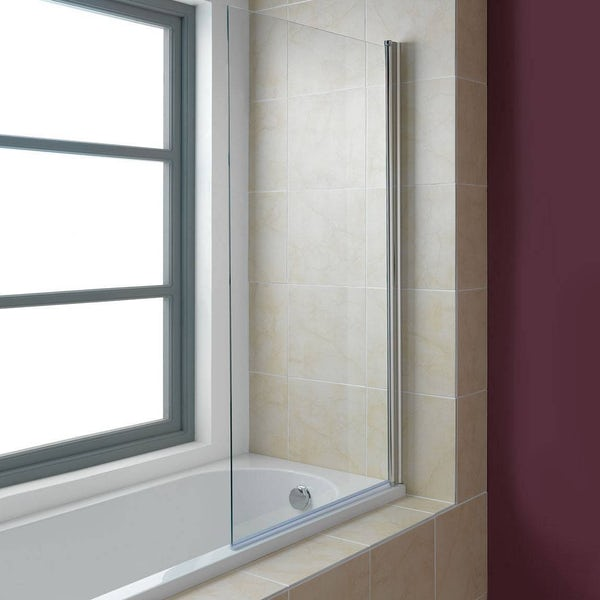 Orchard 6mm square edged straight shower bath screen
