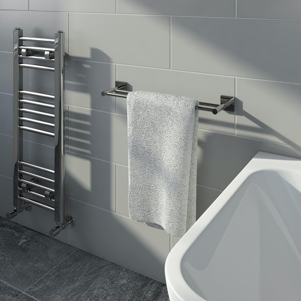 Accents square plate contemporary double towel bar 450mm