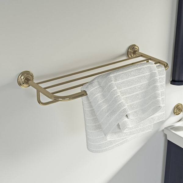 The Bath Co. 1805 gold towel shelf