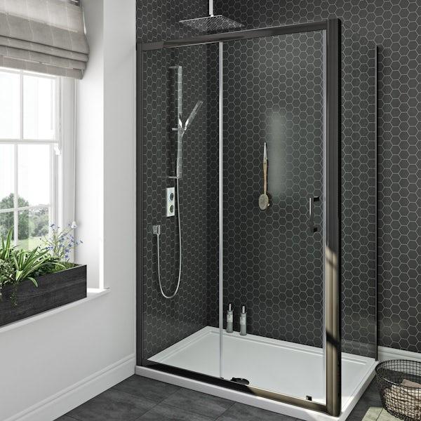 SmarTap white smart shower system with Mode black shower enclosure 1200 x 800