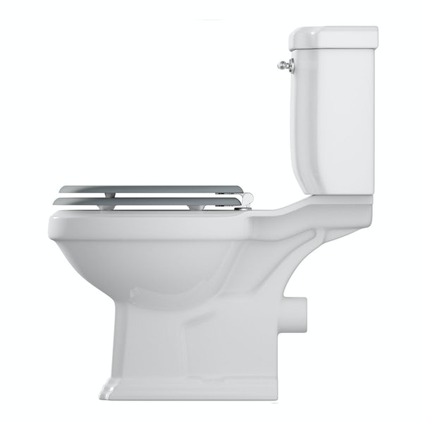 Dulwich close coupled toilet inc grey soft close seat