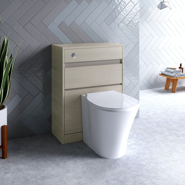 Ideal Standard Concept Air wood light brown back to wall unit, concealed cistern, push button and toilet with soft close seat