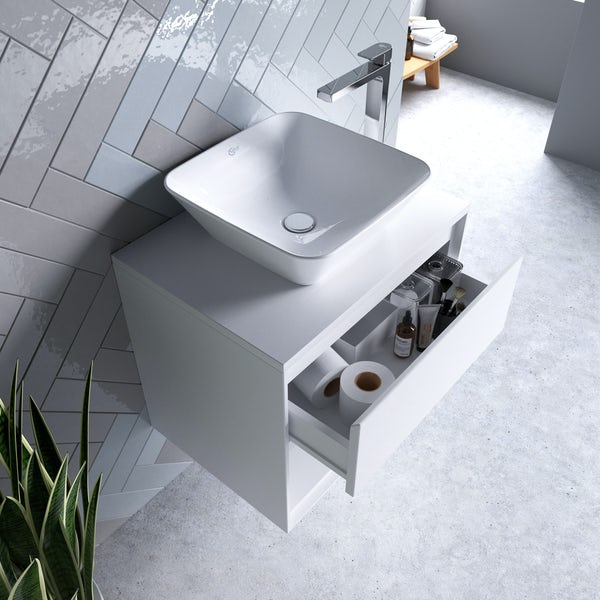 Ideal Standard Concept Air gloss and matt white wall hung countertop vanity unit and basin 600mm