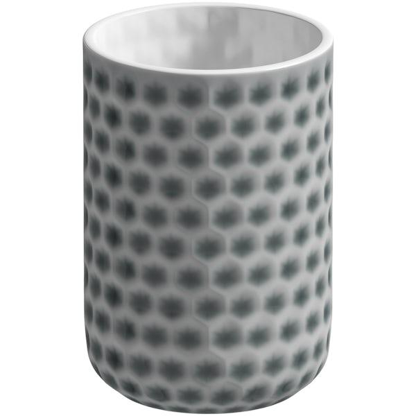 Accents Positano grey polka dot 3 piece bathroom set with soap dish