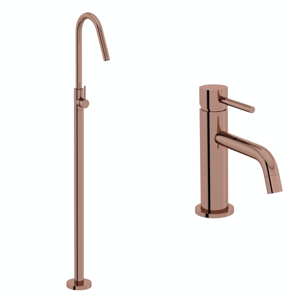 Mode Spencer rose gold basin and freestanding bath filler tap pack