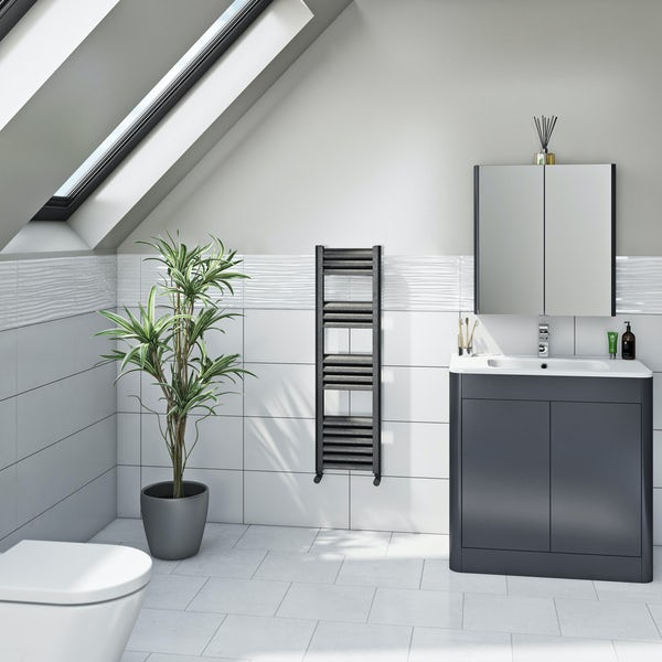Mode Carter charcoal black heated towel rail 1000 x 300mm