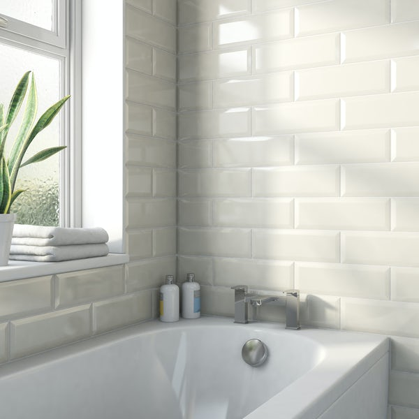 Maxi Metro Subway Ivory Cream Bevelled Gloss Wall Tile