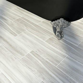 British Ceramic Tile Bark ash wood effect grey matt tile 148mm x 498mm