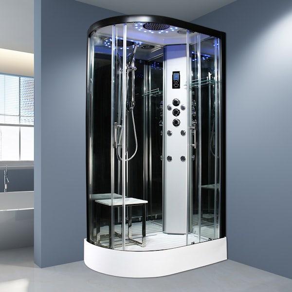 Insignia Platinum black framed offset quadrant right handed shower cabin 1100 x 700