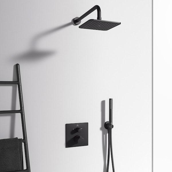 Ideal Standard Ceratherm silk black T100 square twin thermostatic shower valve