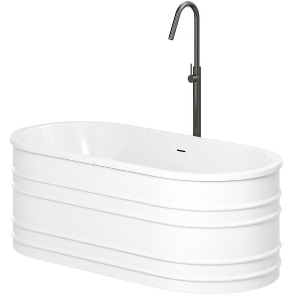 Mode Hale freestanding bath & tap pack with Spencer black bath filler