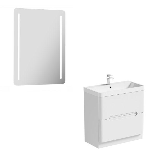 Mode Ellis white vanity drawer unit 800mm and mirror offer