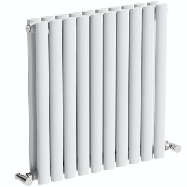Mode Tate white double horizontal radiator 600 x 600