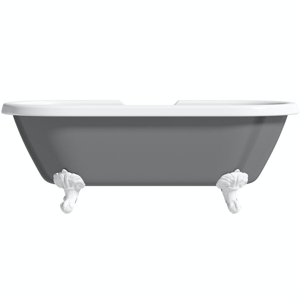 The Bath Co. Dulwich grey roll top freestanding bath with white claw feet 1695 x 740