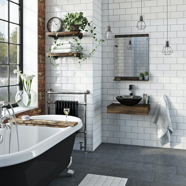 The Bath Co. Dalston countertop with Mackintosh black basin, tap & waste