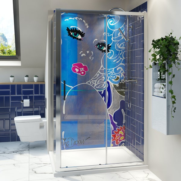 Louise Dear Coo..ee! acrylic shower wall panel with 1200 x 800mm rectangular enclosure