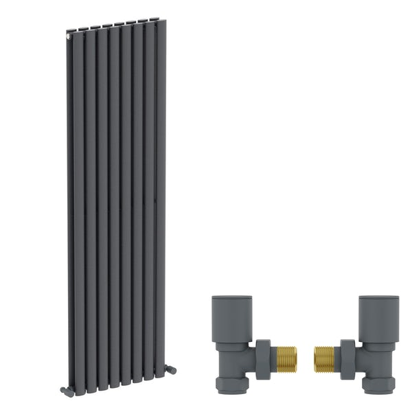 Mode Tate anthracite grey double vertical radiator 1600 x 480 with angled valves