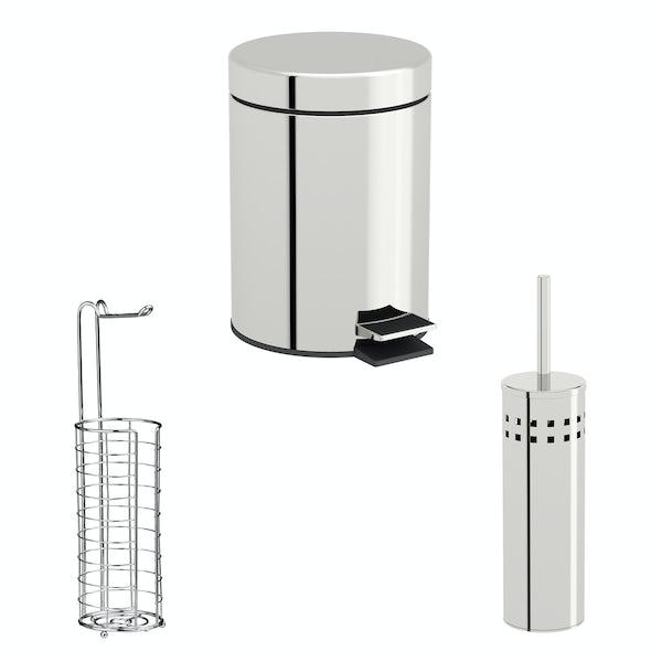 Accents Chrome 3 piece large wire toilet roll holder bathroom accessory set