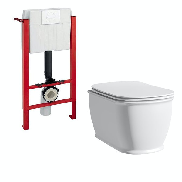 The Bath Co. Beaumont wall hung toilet with soft close seat and wall mounting frame