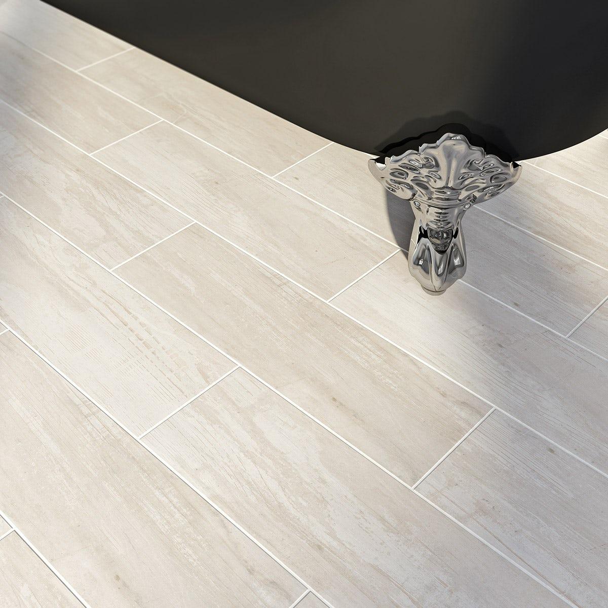 British Ceramic Tile Bark White Wood Effect White Matt