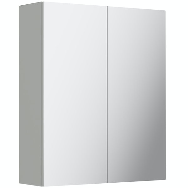 Reeves Wyatt light grey mirror cabinet 720 x 600mm